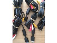 Official SONY Audio Video AV Cables for Playstation PS2 PS1Console Lead Wire. free postage