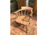 Antique oak captain's chair, sturdy and comfortable. Dining chair, wooden chair.