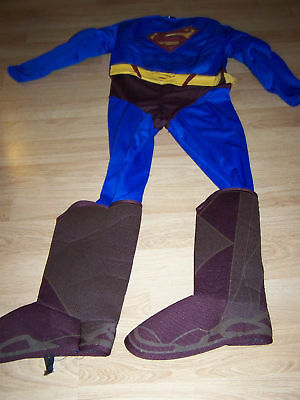 Boys Size Large 12 Muscled Chest Super-Man Halloween Costume Super Man Jumpsuit