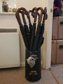 10 x black umbrellas with holder great for weddings
