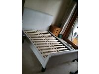 Bargain double bed in white leather by Next