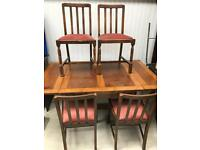 Vintage draw leaf dining table and 4 chairs FREE DELIVERY PLYMOUTH AREA