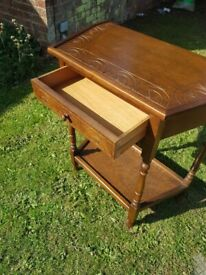 Lovely wooden half moon hall table with drawer