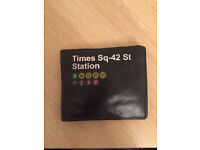 Times Square Mustard Black Leather Wallet