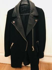 Zara woman biker coat with lamb lining XS UK 6-8