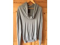 Men's All Saints green cowl neck top in large