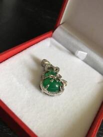 Rare Chinese Silver And Jadeite Jade Pendant