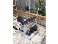 Pro Fitness weights bench with preacher pad! 65kg of weight