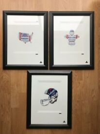 3 Genuine Framed Martin Allen Can Art Pieces, Labatt Budweiser USA & American Football