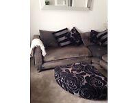 Gorgeous Grey Fabric Large Corner Sofa with Chrome Feet