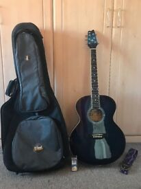 Acoustic Guitar (Blue), Brunswick Rodeo Series, Full Size with Case, Strap and Plectrum.