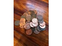 48 old penny coins