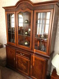 Italian reproduction triple cabinet, inlaid mahogany.