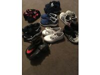 Boys Size 10 shoe collection (trainers, football foots and slippers)
