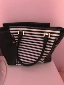 Black and white striped large handbag