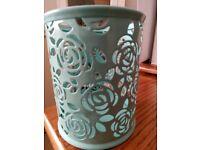 New Duck egg blue / green metal rose cut design tealight votive
