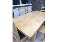 Solid pine extending table & 6 chairs