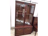 G Plan Mahogany Cabinet with Two Lower and Glazed Doors Delivery Available