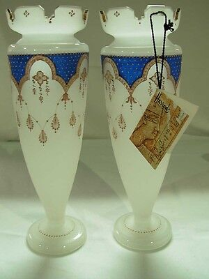 "ANTIQUE PAIR HAND PAINTED 12.5"" FRENCH OPALINE GLASS VASES c.1860 FROM HARRODS"