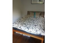 Stylish Made wooden bed frame & double mattress for sale