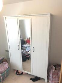 Matching White Brusali Wardrobe, Bed, Mattress and Bedside Table