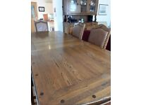 Extendable Solid Oak Dining Table, 6 Chairs and Dresser