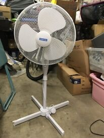 White standing, adjustable fan