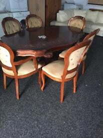 Reproduction dining room table and six chairs