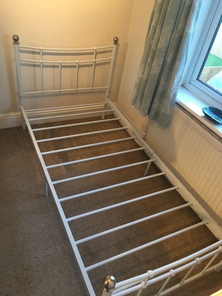 Single Metal Frame Bed With Free Matress Purchased But Not Used In