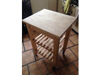 Light beech butchers block kitchen trolley