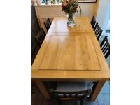 Oak Dining Table - seats up to 10 (when extended)