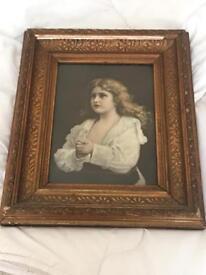 Antique Victoria era picture framed