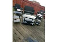 Black glass tv stand and units