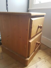 Hand made solid pine two drawer bedside table / drawers, stunning
