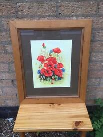 Framed Watercolour Of Poppies