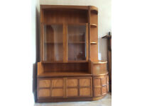 Lovely retro teak display cabinet sideboard with corner unit for sale