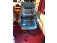 Leather swivel chair, ex condition