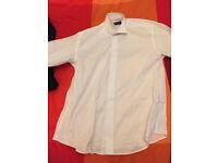 "Men's White Fancy Dress Shirt Size 15.5"" Splay Collar - REDUCED"