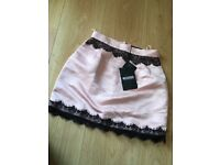 Misguided pink silk lace skirt
