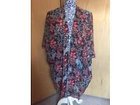 Navy Floral Chiffon Kimono - Size Medium (14/16/18)
