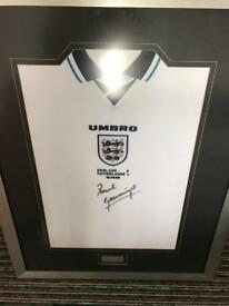 Paul gascoigne signed framed Football shirt coa