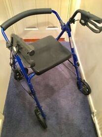 4 wheeled walker travelator blue excellent condition