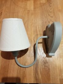 Shabby Chic wall light. Distressed grey fitting with cream lampshade.