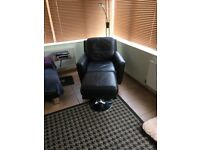 Black leather chair and footstool