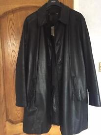 Genuine man's black leather coat