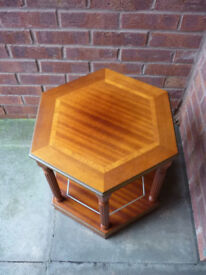 Table - small 2-tier wooden hexagonal table