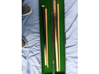 USED Wooden Pool Cue Set. Small and large 2 piece set for SALE w/ Case!