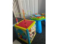Activity cube and leap frog activity table