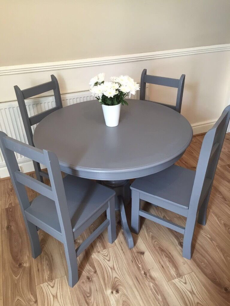 Pine Farmhouse Kitchen Table Beautiful Round Dark Grey Pine Farmhouse Table And Chairs In