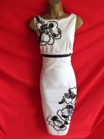 Coast Black & White Flower Shift Dress - Size 12
